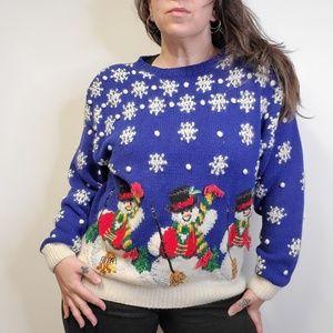 Vtg 90s Christmas Snowman Novelty Sweater 1994